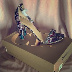 Snake print multi colored chunky heels